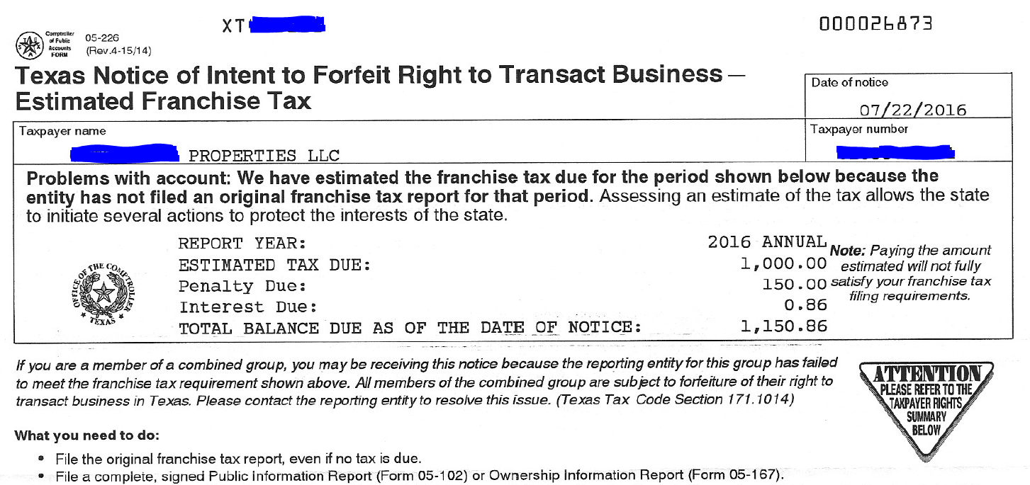 Received A Texas Notice Of Intent To Forfeit Taxation For Real